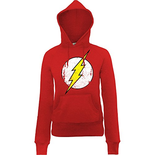 DC Comics Donna Flash Distressed Logo Felpa con cappuccio X-Small Rosso