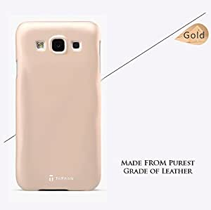 Tarkan Samsung Galaxy J5 Case - Original Luxury Leather Back Cover [NOT For J5 2016] [Gold]