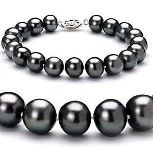 PearlsOnly Ilka Schwarz 8,5-9mm AA Süßwasser Perle Armband-7-inch