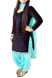 Zbuy Blue Velvet Embroidered Unstitched Salwar Suit Dress Material