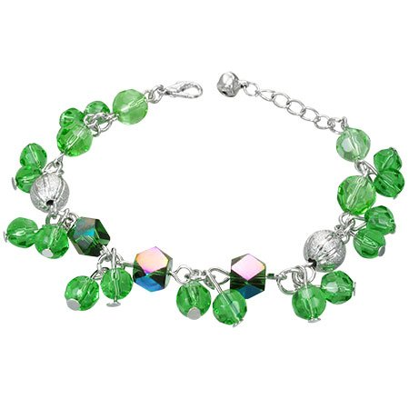 The Stainless Steel Jewellery Shop - Gorgeous Green Iridescent Beads Bracelet