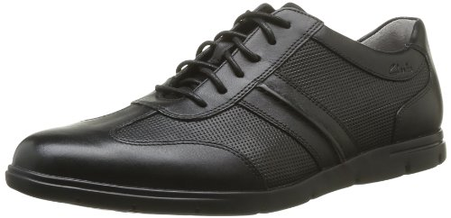 Clarks Denner Race, Sneaker uomo, Nero (Schwarz (Black Leather)), 43