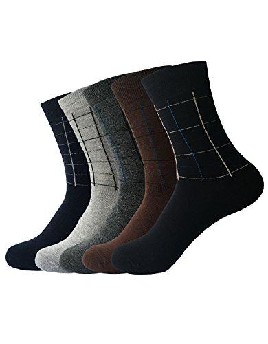 Zando da uomo in cotone comfort Design Pattern Linee Rette Dress calzini Casual 5 Pairs Taglia Unica: 27 cm- 29 cm(Misura scarpa: 44-48)