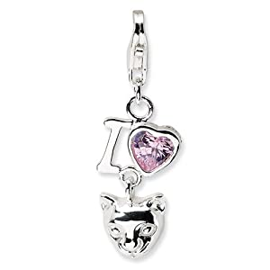 New Amore La Vita Sterling Silver CZ Heart Cat Charm with Lobster Clasp
