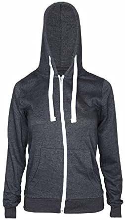 New Womens Front Zip Up Hoodie Ladies Long Sleeve Plain Sweatshirt Fleece Hoody Hooded Jacket Charcoal Size 8