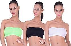 PIFTIF Women's Strapless Non-Padded Bra (WHITE_GREEN_BLACK__Small)