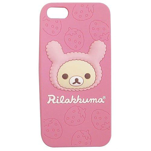 Special Sale Rilakkuma Love For Strawberries Silicone iPhone 5 Case (Korilakkuma)