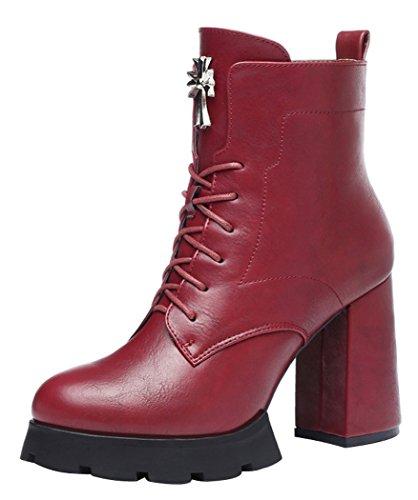 Guciheaven Women Winter New Britain Style Fluff Lace Rough Heel(5.5 B(M)Us, Red)