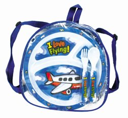 Children's Airplane 5pc. Dinnerware Set in Backpack