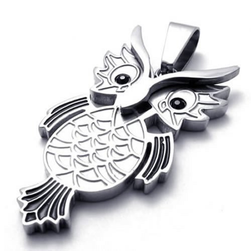 "22"" Konov Jewelry Owl Stainless Steel Pendant Mens Womens Necklace, Black Silver, 22 Inch Chain"