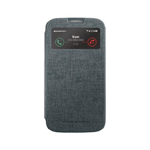 Galaxy S4 ケース Mercury Goospery Viva View Case ギャラクシー S4 ビュー フリップ ケース グレー(Gray) / SC-04E 携帯 スマホ スマートフォン モバイル ケース カバー カード 収納 ポケット スロット