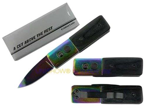 "Unishow® 5"" Mini Press To Open & Auto Lock Folding Pocket Knife W/ 440 Stainless Steel 2"" Blade By Bubble Star (Rainbow)"