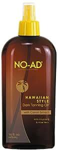 NO-AD Hawaiian Style Dark Tanning Oil, SPF 0, 16 Ounces