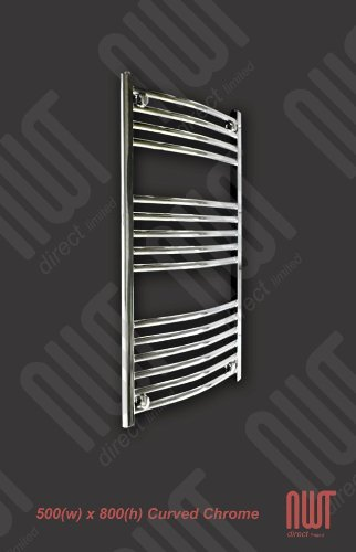 500 x 800 Heated Towel Rail / Radiator / Warmer - Curved Chrome