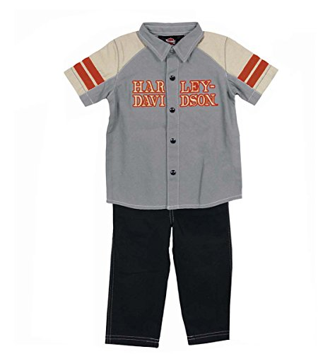 Harley-Davidson Boys Baby 2 Piece Woven Grey Pant Set (2 Toddler) front-172953