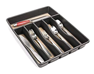 Rubbermaid No-Slip Cutlery Tray, Large, Black