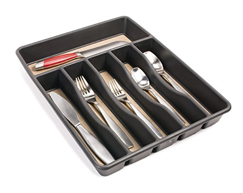 Rubbermaid No-Slip Cutlery Tray, Large, Black, 1.9 x 11.9 x 15.1