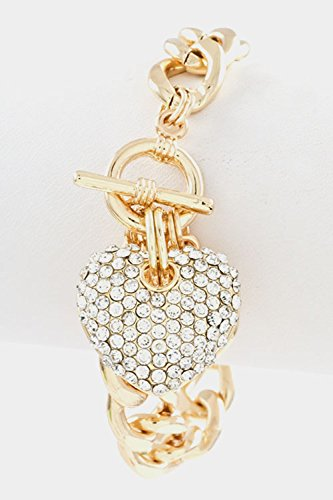 Karmas Canvas Heart Rhinestone Charm Chain Toggle Closure Bracelet (Gold/Clear) front-182448