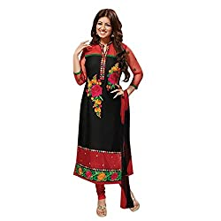 KMOZI Black and Red Flower Design Embroidery Dress Material