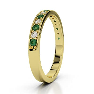 9 KT Yellow Gold Emerald & Diamond Half Eternity Ring AGDR-1083-IH
