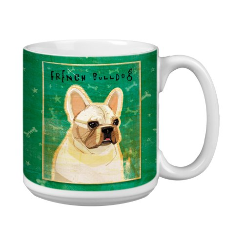 Tree-Free Greetings Xm28065 John W. Golden Artful Jumbo Mug, 20-Ounce, White French Bulldog