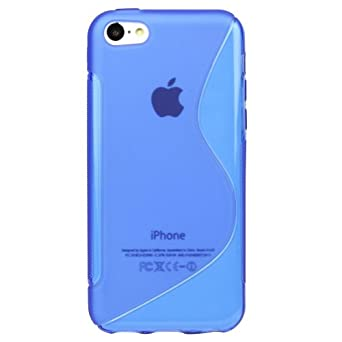 APPLE IPHONE 5C TPU SILICONE GEL SKIN CASE COVER (AQUA BLUE S-LINE)