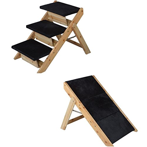 1-Set Pre-eminent Popular 2-in-1 Pet Stairs Ramp Folding Portable Carpeted Animal Steps Ladder Colors Black and Wood