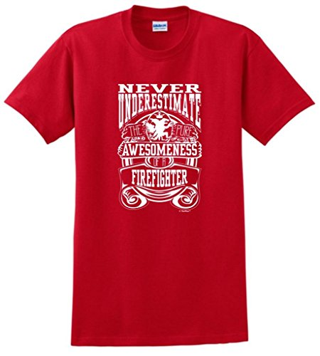 Never Underestimate Awesome Firefighter, Fireman'S T-Shirt Large Red