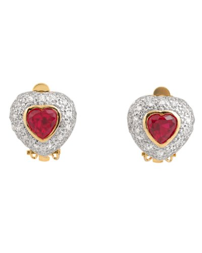 Cubic Zirconia and Sterling Silver Ruby Earrings