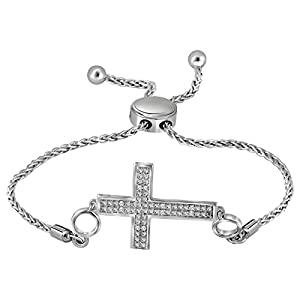 Diamond Cross Bolo Bracelet 1/20 CTW Rhodium on Sterling Silver