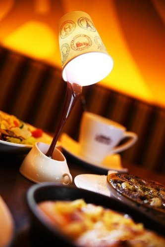 Novelty Diy Coffee Cup Lamp Shaped Led Light Table Lamp With 8 Led Night Light Usb/Battery Use Light
