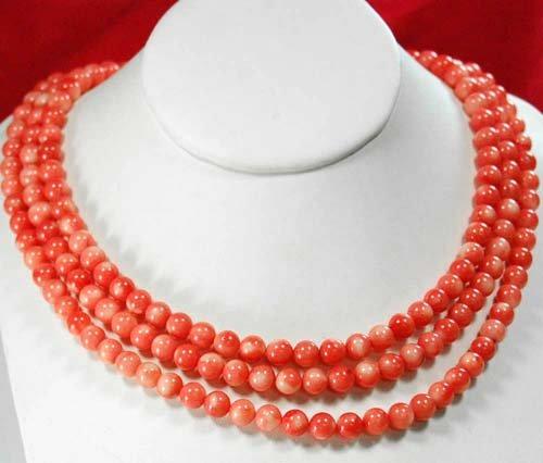 Multi Strands Orange-Red Coral Huge Silver Necklace 17