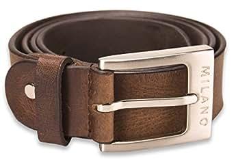 """Milano Mens Full Grain Leather Belt - 1.25"""" (30mm) - Black and Brown # ML-2910 - Brown, Medium"""