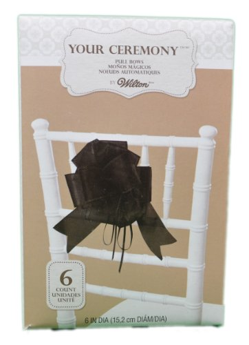 Lot of 6 Wilton Wedding Black Pull Bows Pew Aisle
