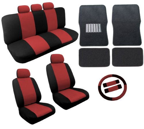 Dual Color Red Black Two Tone Car Seat Covers Black Mats