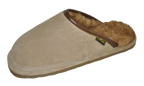 Cheap Eurow Men's Hardsole Sheepskin Scuff Slipper – Chestnut/Stoney (B004622ENO)
