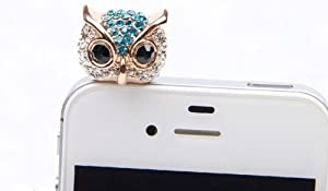 Wisedeal Bling Crystal 3.5mm Rhinestones Night Owl Pattern Cellphone Charms Anti-Dust Dustproof Earphone Audio Headphone Jack Plug Stopper for iPhone 4 4S Samsung Galaxy S2 S3 Note I9220 HTC Sony Nokia Motorola LG Lenovo (Blue)