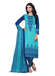 SayShopp Fashion Women's Unstitched Regular Wear Cotton Printed Salwar Suit Dress Material (ZDM-13_Blue_Free Size)