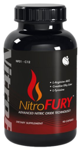 Nitrofury Nitric Oxide Muscle Builder Arginine Akg 90 Capsules 1 Bottle
