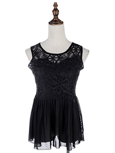 Anna Kaci S/M Fit Intricate Lace Overlay Flared Sheer Little Black Dress