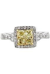1.37ctw Yellow and White Diamond Ring