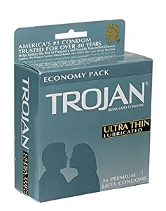 Trojan Ultra Thin Latex Condoms, Primium Lubricant, 36-Count Boxes (Pack of 2)