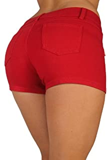 Basic Short Shorts Premium Stretch French Terry Moleton With a gentle butt lifting stitching in Red Size M