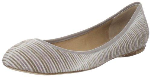 Sigerson Morrison Women's Boteno 2 Ballet Flat, Taupe/Ivory Haircalf, 6.5 M US