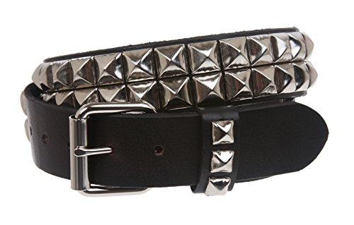 """1 1/2"""" Snap On Two Row Punk Rock Star Silver Studded Solid Leather Belt Size: 38"""" Color: Black"""
