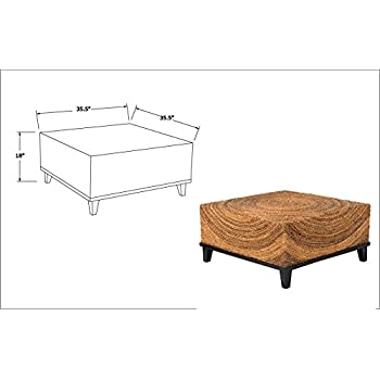 East at Main Chickasaw Brown Abaca Square Coffee Table, (35.5x35.5x18.5)