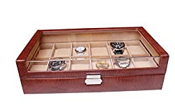 Essart PU Leather Designer Couple Watch Box for 12 Watches - Tan