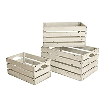 Wald Imports FL5004 White-Washed Distressed Storage Crates, Set of 3