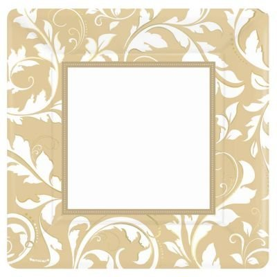 "Gold Elegant Scroll 10"" Square Plate - 1"