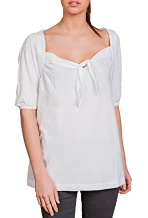 Women's Super Soft Loose Flowing Tie Neck Tunic T-Shirt White XX-Large